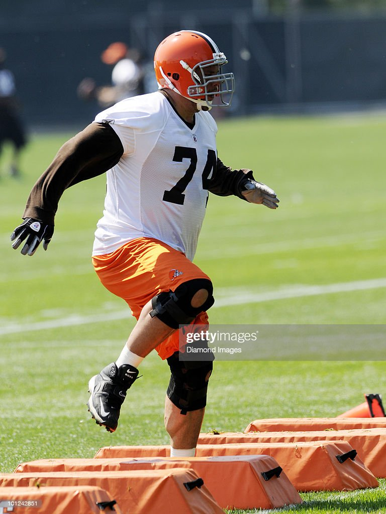 Offensive lineman Scott Kooistra #74 of the Cleveland Browns performs an agility drill during the team's organized team activity (OTA) on May 27, 2010 at the Cleveland Browns practice facility in Berea, Ohio.