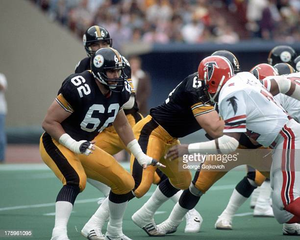 Offensive lineman Tunch Ilkin of the Pittsburgh Steelers blocks during a game against the Atlanta Falcons at Three Rivers Stadium on October 28 1984...