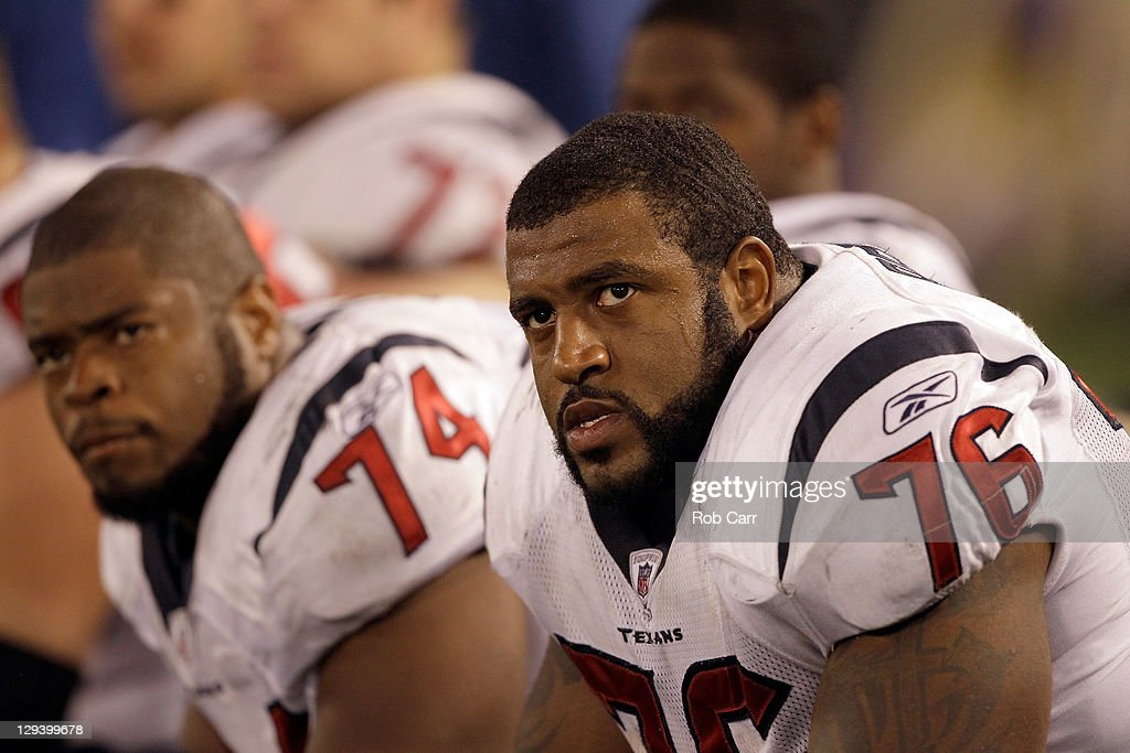 Offensive lineman Wade Smith #74 and Duane Brown #76 of the Houston Texans look on from the bench during the closing moments of the Texans 29-14 loss to the Baltimore Ravens at M&T Bank Stadium on October 16, 2011 in Baltimore, Maryland.