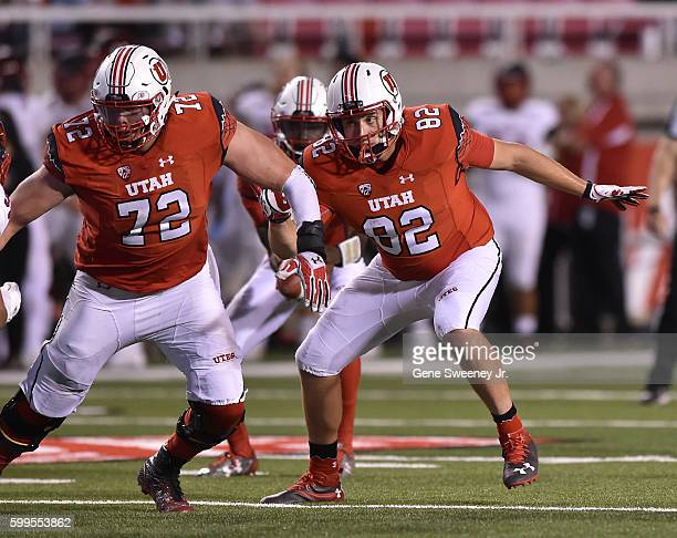 Offensive linemen Garett Bolles of the Utah Utes and teammate Ken Hampel block during their game against the Southern Utah Thunderbirds at RiceEccles...