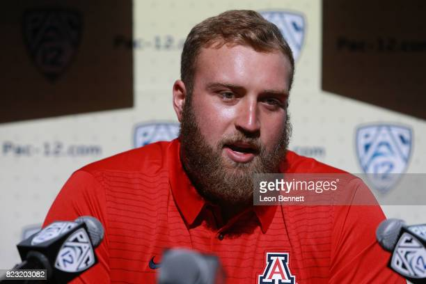 Offensive Linemen Jacob Alsadek of the University of Arizona Wildcats speaks to the media during PAC12 Media Days on July 26 2017 in Hollywood...