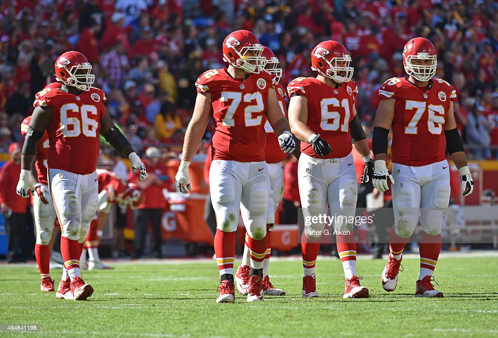 Offensive linemen <a gi-track='captionPersonalityLinkClicked' href=/galleries/search?phrase=Laurent+Duvernay-Tardif&family=editorial&specificpeople=13409468 ng-click='$event.stopPropagation()'>Laurent Duvernay-Tardif</a> #76, <a gi-track='captionPersonalityLinkClicked' href=/galleries/search?phrase=Mitch+Morse&family=editorial&specificpeople=8312473 ng-click='$event.stopPropagation()'>Mitch Morse</a> #61, <a gi-track='captionPersonalityLinkClicked' href=/galleries/search?phrase=Eric+Fisher+-+American+Football+Player&family=editorial&specificpeople=10866831 ng-click='$event.stopPropagation()'>Eric Fisher</a> #72 and <a gi-track='captionPersonalityLinkClicked' href=/galleries/search?phrase=Ben+Grubbs&family=editorial&specificpeople=2159937 ng-click='$event.stopPropagation()'>Ben Grubbs</a> #66 of the Kansas City Chiefs walk out onto the field against the Pittsburgh Steelers during the secone half on October 25, 2015 at Arrowhead Stadium in Kansas City, Missouri.