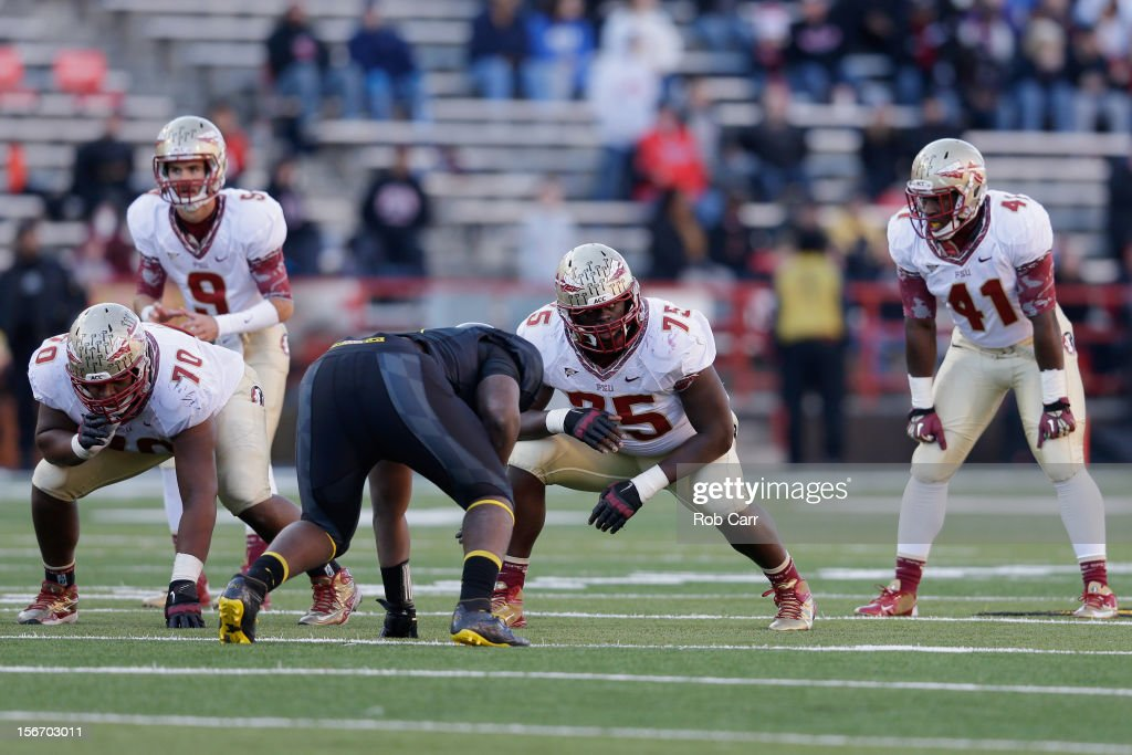 Offensive linesman Cameron Erving #75 of the Florida State Seminoles lines up against the Maryland Terrapins defense during the second half at Byrd Stadium on November 17, 2012 in College Park, Maryland.