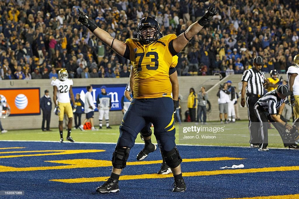 Offensive linesman Jordan Rigsbee #73 of the California Golden Bears celebrates after a touchdown was scored by quarterback Zach Maynard #15 (not pictured) during the fourth quarter against the UCLA Bruins at California Memorial Stadium on October 6, 2012 in Berkeley, California. The California Golden Bears defeated the UCLA Bruins 43-17.