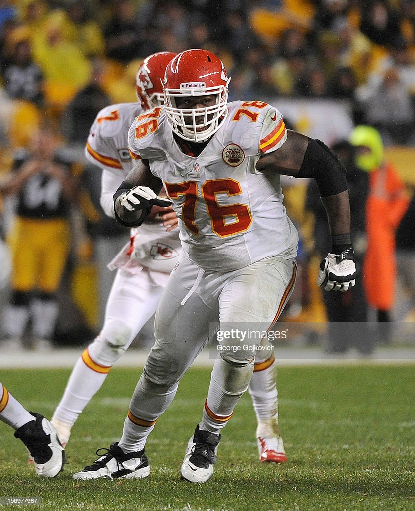 Offensive tackle Branden Albert #76 of the Kansas City Chiefs blocks during a game against the Pittsburgh Steelers at Heinz Field on November 12, 2012 in Pittsburgh, Pennsylvania. The Steelers defeated the Chiefs 16-13.