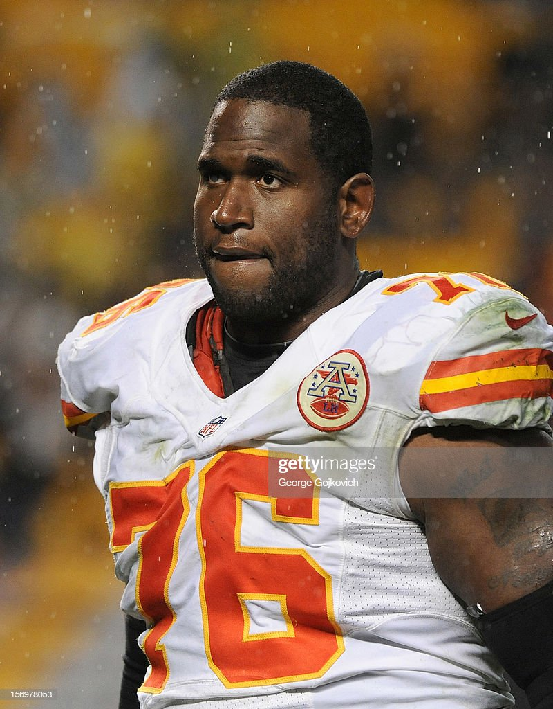 Offensive tackle Branden Albert #76 of the Kansas City Chiefs looks on from the field after a game against the Pittsburgh Steelers at Heinz Field on November 12, 2012 in Pittsburgh, Pennsylvania. The Steelers defeated the Chiefs 16-13.