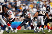 Offensive tackle Chester Pitts of the Houston Texans blocks for quarterback Sage Rosenfels against the San Diego Chargers on October 28 2007 at...