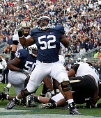 Offensive tackle Chima Okoli celebrates a touchdown by Curtis Dukes against the Purdue Boilermakers during the game on October 15 2011 at Beaver...