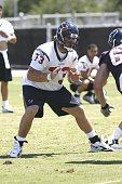 Offensive tackle Eric Winston of the Houston Texans practices with the team during Texans minicamp on May 19 2006 in Houston Texas