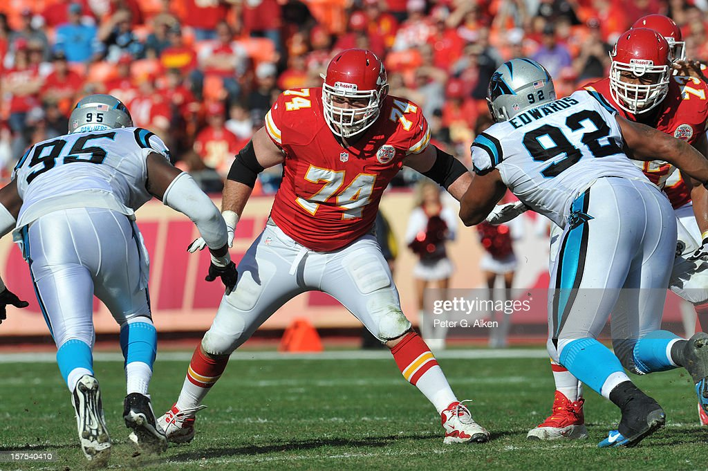 Offensive tackle Eric Winston #74 of the Kansas City Chiefs gets set on the line against the Carolina Panthers during the first half on December 2, 2012 at Arrowhead Stadium in Kansas City, Missouri.