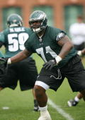 Offensive tackle Jason Peters of the Philadelphia Eagles practices during minicamp at the NovaCare Complex on May 1 2009 in Philadelphia Pennsylvania