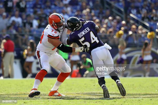 Offensive tackle Joe Thomas of the Cleveland Browns blocks linebacker Tyus Bowser of the Baltimore Ravens at MT Bank Stadium on September 17 2017 in...