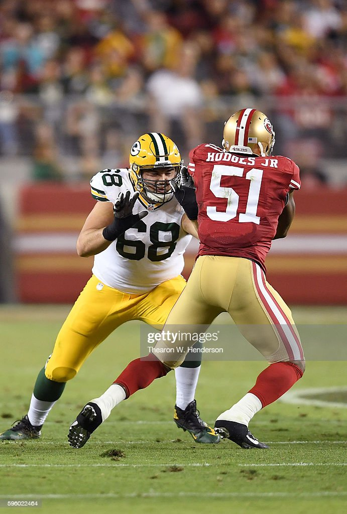 Offensive tackle Kyle Murphy #68 of the Green Bay Packers pass blocks inside linebacker Gerald Hodges #51 of the San Francisco 49ers in the second half of their preseason football game at Levi's Stadium on August 26, 2016 in Santa Clara, California.