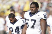 Offensive tackle Levi Brown of the Penn State Nittany Lions looks on against the Michigan Wolverines at Michigan Stadium on October 15 2005 in Ann...