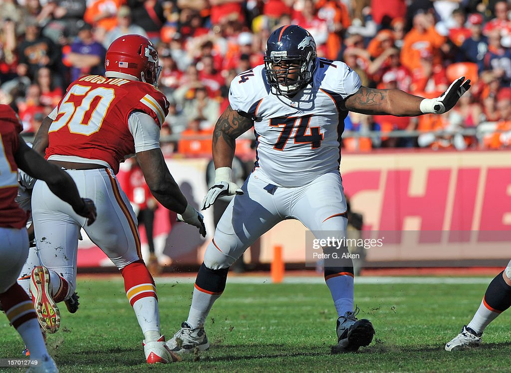 Offensive tackle Orlando Franklin #74 of the Denver Broncos gets set on the line against the Kansas City Chiefs during the first half on November 25, 2012 at Arrowhead Stadium in Kansas City, Missouri.