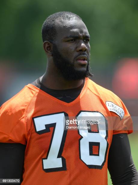 Offensive tackle Roderick Johnson of the Cleveland Browns walks off the field after an OTA practice on May 31 2017 at the Cleveland Browns training...