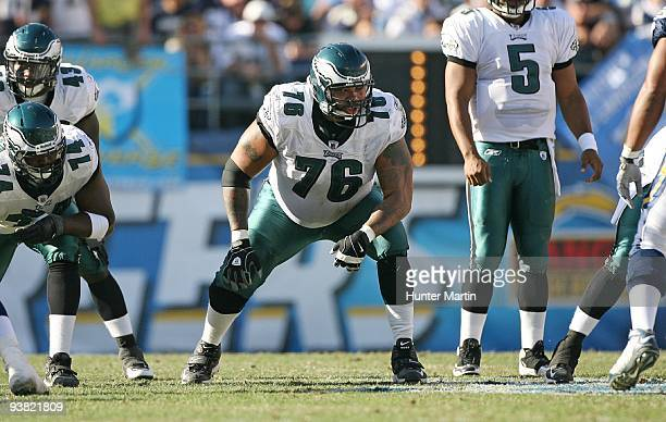 Offensive tackle Stacy Andrews of the Philadelphia Eagles sets into position during a game against the San Diego Chargers on November 14 2009 at...