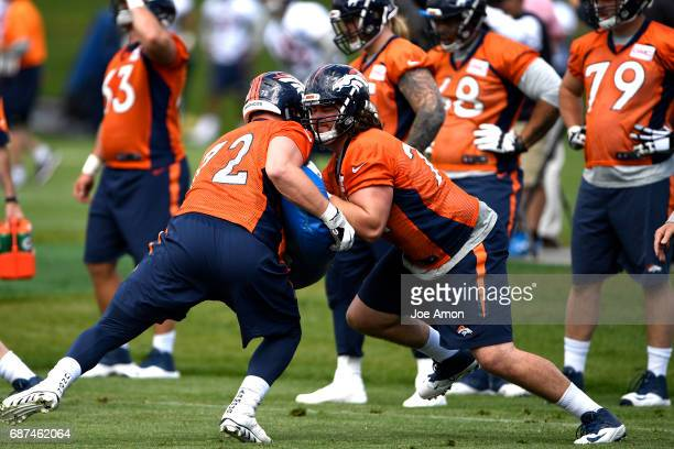 Offensive tackle Ty Sambrailo works over Garett Bolles of the Denver Broncos during the first week of OTAs at the UCHealth Training Center May 23...
