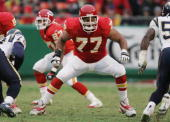 Offensive tackle Willie Roaf of the Kansas City Chiefs blocks against the San Diego Chargers at Arrowhead Stadium on November 28 2004 in Kansas City...