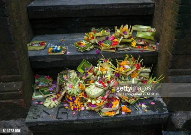 Offerings in Tirta Empul temple Bali island Tampaksiring Indonesia on July 19 2015 in Tampaksiring Indonesia