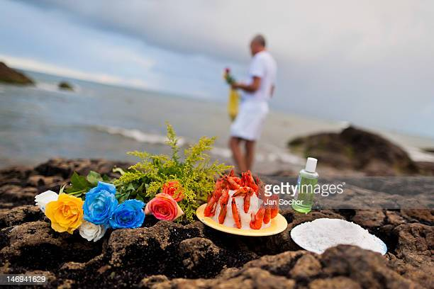 Offerings put on the seashore during the ritual celebration of Yemanjá the goddess of the sea on 2 February 2012 in Salvador Bahia Brazil Yemanjá...