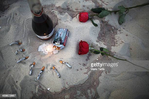 Offerings remain on the sand during a ceremony honoring Iemanja Goddess of the Sea as part of traditional New Year's celebrations on the sands of...