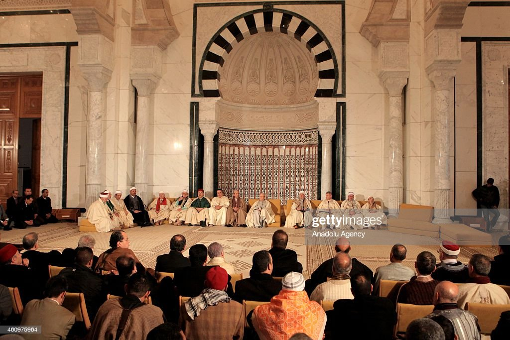 Officals are seen inside the Malik ibn Anas Mosque during the ceremony for the 1444th anniversary for the celebration of Mawlid al-Nabi, a holy day for the birthday of the Islam's prophet Muhammad, in Carthage, Tunisia on January 02, 2015.