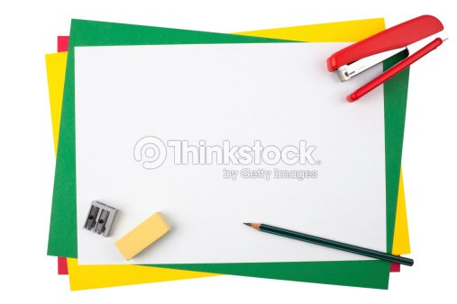Office Accessories On A Frame From Colored Paper Stock Photo