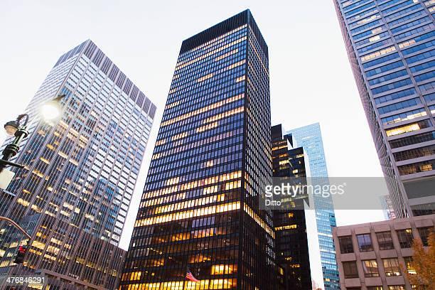 Office blocks at dusk, Manhattan, New York City, USA