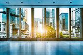 view through glass window,hong kong,china.