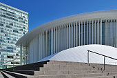 Office building of the European Parliament and the GrandeDuchesse JosephineCharlotte Concert Hall / Philharmonie Luxembourg at Kirchberg Luxembourg
