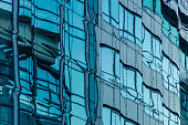 Modern office building in Budapest, windows with reflections