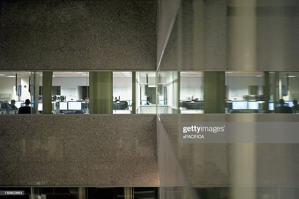 Office building windows reflected off the wall : Stock Photo