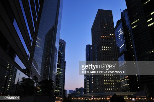 Office buildings at dusk, Shiodome, Minato Ward, Tokyo Prefecture, Honshu, Japan : Stock Photo