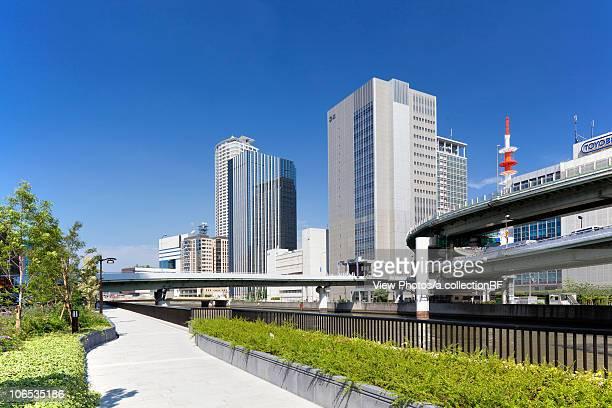 Office buildings, highway and Dojima  river, Osaka Prefecture, Honshu, Japan