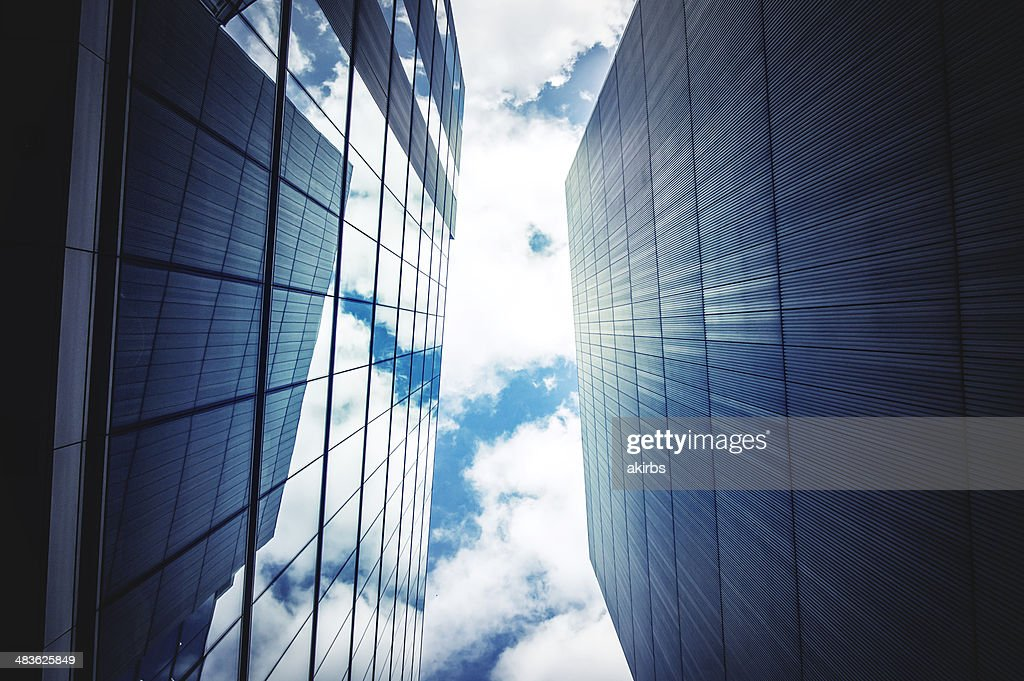 Office buildings with sky and clouds : Stock Photo