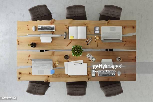 オフィス ビジネス チーム デスク コピー スペース knolling テンプレート