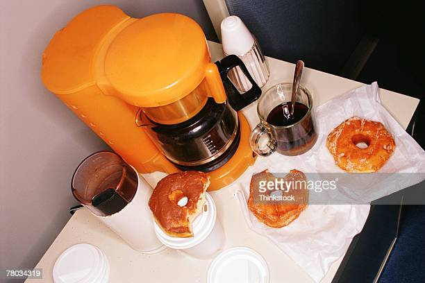 Office coffee maker and donuts