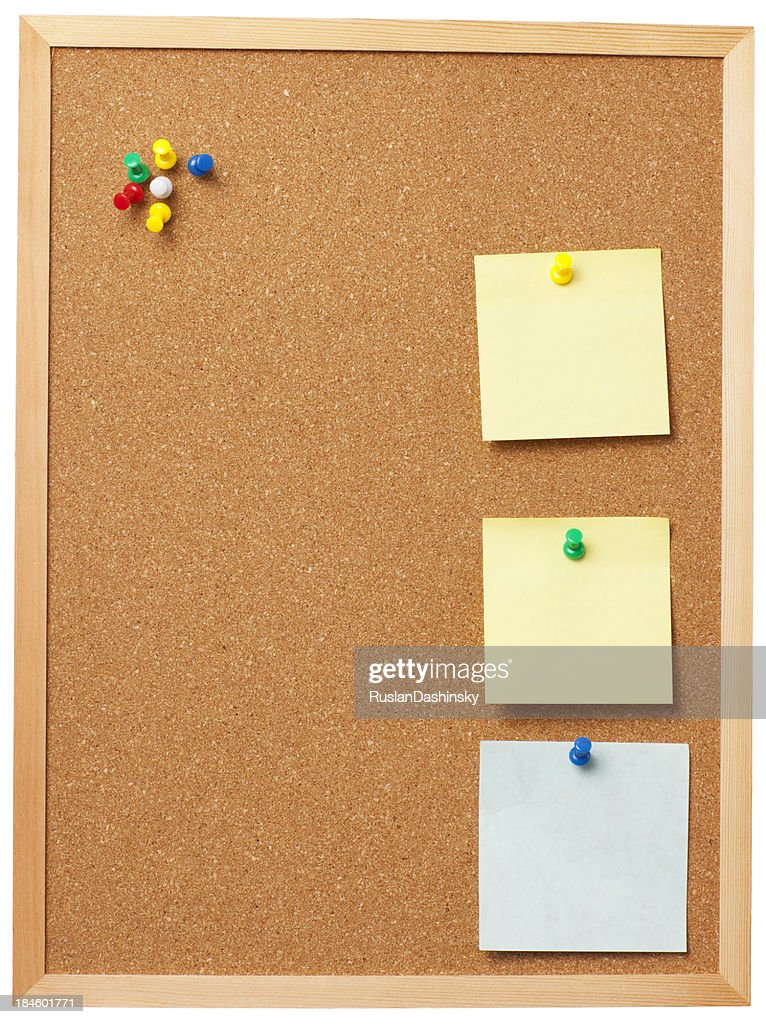 Office Cork Board With Blank Memo Notes Stock Photo | Getty Images