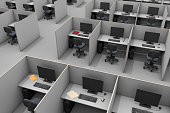 An aerial view of office cubicles at a modern call center.