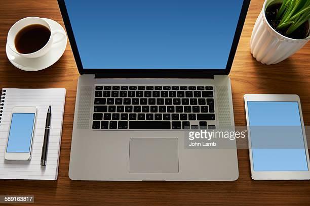 Office desk - blue screen