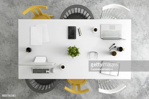 Office desk business group knolling