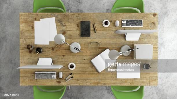 Knolling de oficina escritorio empresarial grupo