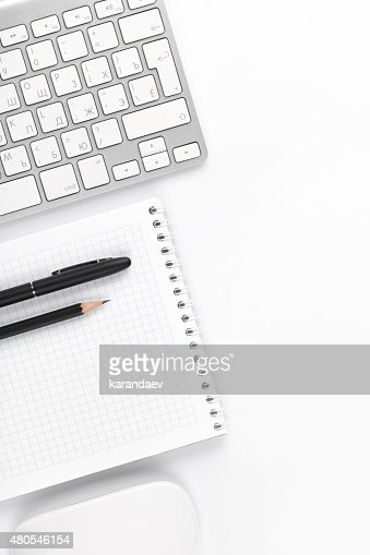 Office desk table with computer and supplies : Stock Photo
