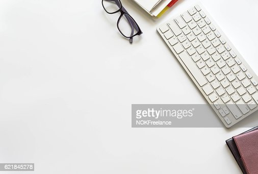 Office desk table with computer keyboard, : Stock Photo
