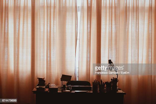 Office Dimmed By Curtains