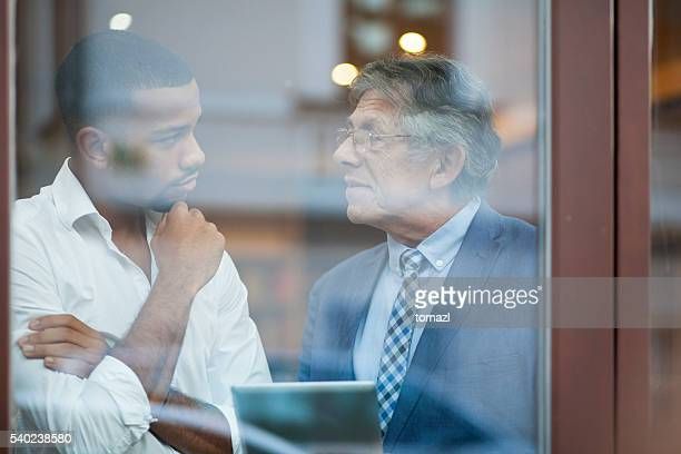 Office discussion through glass