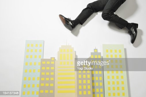 Office group made with paper and Businessman : Stock Photo