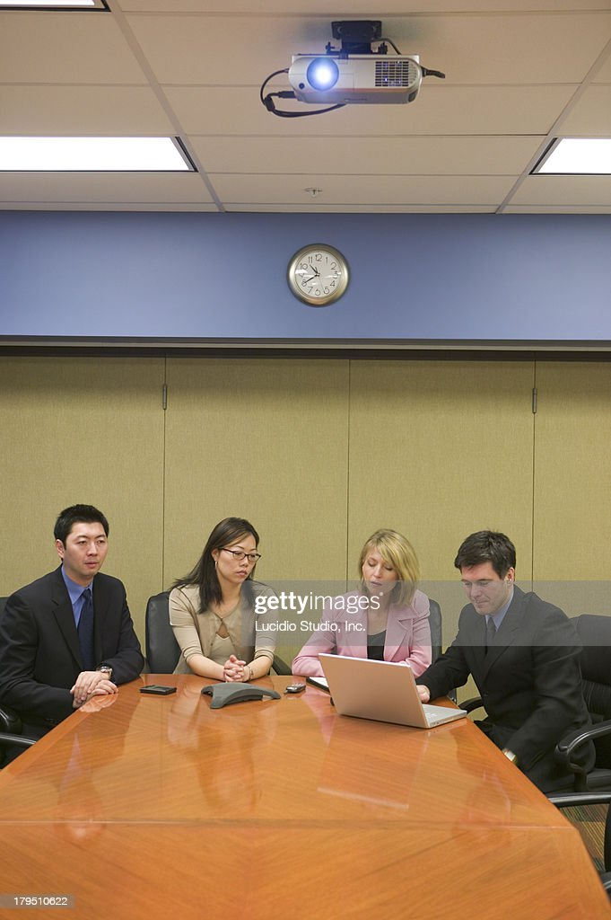Office group watching projection presentation : Stock Photo