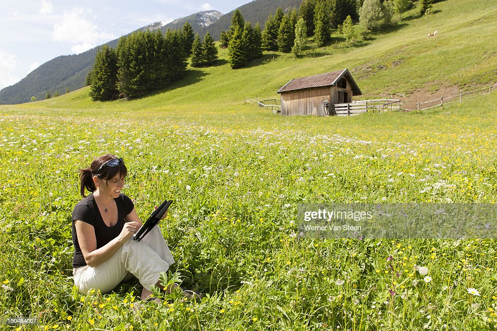 Office in spring flower field : Stock Photo